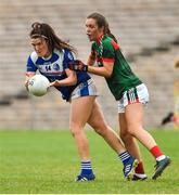 14 July 2018; Bronagh Sheridan of Cavan in action against Dayna Finn of Mayo during the TG4 All-Ireland Ladies Football Senior Championship Group 4 Round 1 match between Cavan and Mayo at St Tiernach's Park, in Clones, Monaghan. Photo by Oliver McVeigh/Sportsfile