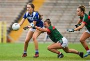 14 July 2018; Catherine Dolan of Cavan in action against Rachel Kearns of Mayo during the TG4 All-Ireland Ladies Football Senior Championship Group 4 Round 1 match between Cavan and Mayo at St Tiernach's Park, in Clones, Monaghan. Photo by Oliver McVeigh/Sportsfile