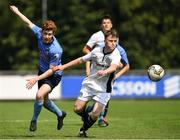 14 July 2018; John O'Keane of UCD in action against Aaron Hennessey of Bray Wanderers during the SSE Airticity National U19 League match between UCD and Bray Wanderers at UCD Bowl, in Belfield, Dublin. Photo by David Fitzgerald/Sportsfile
