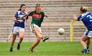 14 July 2018; Sarah Rowe of Mayo scoring a goal despite the attempted block of Grainne McGlade of Cavan during the TG4 All-Ireland Ladies Football Senior Championship Group 4 Round 1 match between Cavan and Mayo at St Tiernach's Park, in Clones, Monaghan. Photo by Oliver McVeigh/Sportsfile