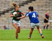 14 July 2018; Sarah Rowe of Mayo in action against Joanne Moore of Cavan during the TG4 All-Ireland Ladies Football Senior Championship Group 4 Round 1 match between Cavan and Mayo at St Tiernach's Park, in Clones, Monaghan. Photo by Oliver McVeigh/Sportsfile