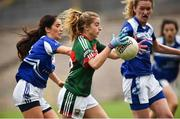 14 July 2018; Saoirse Ludden of Mayo in action against Rachel Doonan of Cavan during the TG4 All-Ireland Ladies Football Senior Championship Group 4 Round 1 match between Cavan and Mayo at St Tiernach's Park, in Clones, Monaghan. Photo by Oliver McVeigh/Sportsfile