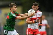 14 July 2018; Oisín McLaughlin of Mayo in action against Eoghan Concannon of Derry during the EirGrid GAA Football All-Ireland U20 Championship Semi-Final match between Mayo and Derry at Páirc Seán Mac Diarmada, in Carrick-on-Shannon. Photo by Piaras Ó Mídheach/Sportsfile