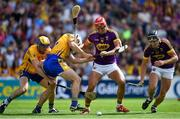 14 July 2018; Lee Chin, centre, and Liam Óg McGovern of Wexford in action against Seadna Morey, left, and Patrick O'Connor of Clare during the GAA Hurling All-Ireland Senior Championship Quarter-Final match between Clare and Wexford at Páirc Ui Chaoimh in Cork. Photo by Brendan Moran/Sportsfile