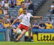 14 July 2018; Niall Sludden of Tyrone kicks a goal in the 12th minute of the GAA Football All-Ireland Senior Championship Quarter-Final Group 2 Phase 1 match between Tyrone and Roscommon at Croke Park in Dublin. Photo by Ray McManus/Sportsfile