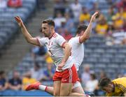 14 July 2018; Niall Sludden of Tyrone celebrates, with teammate Connor McAliskey, right, after scoring a goal in the 12th minute of the GAA Football All-Ireland Senior Championship Quarter-Final Group 2 Phase 1 match between Tyrone and Roscommon at Croke Park in Dublin. Photo by Ray McManus/Sportsfile