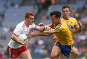 14 July 2018; Peter Harte of Tyrone in action against Tadhg O'Rourke of Roscommon during the GAA Football All-Ireland Senior Championship Quarter-Final Group 2 Phase 1 match between Tyrone and Roscommon at Croke Park in Dublin. Photo by Ray McManus/Sportsfile