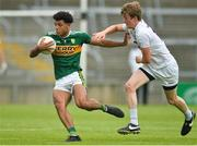 14 July 2018; Stefan Okunbor of Kerry in action against Mark Glynn of Kildare during the EirGrid GAA Football All-Ireland U20 Championship Semi-Final match between Kildare and Kerry at the Gaelic Grounds, Limerick. Photo by Ray Ryan/Sportsfile