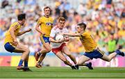 14 July 2018; Peter Harte of Tyrone is tackled by Cathal Compton of Roscommon during the GAA Football All-Ireland Senior Championship Quarter-Final Group 2 Phase 1 match between Tyrone and Roscommon at Croke Park, in Dublin. Photo by David Fitzgerald/Sportsfile