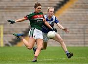 14 July 2018; Grace Kelly of Mayo in action against Sinead O'Sullivan of Cavan during the TG4 All-Ireland Ladies Football Senior Championship Group 4 Round 1 match between Cavan and Mayo at St Tiernach's Park, in Clones, Monaghan. Photo by Oliver McVeigh/Sportsfile