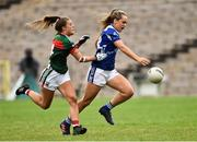 14 July 2018; Aishling Sheridan of Cavan in action against Danielle Caldwell of Mayo during the TG4 All-Ireland Ladies Football Senior Championship Group 4 Round 1 match between Cavan and Mayo at St Tiernach's Park, in Clones, Monaghan. Photo by Oliver McVeigh/Sportsfile