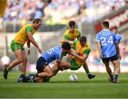 14 July 2018; Cian O'Sullivan of Dublin in action against, from left, Michael Murphy, Michael Langan and Leo McLoone of Donegal uring the GAA Football All-Ireland Senior Championship Quarter-Final Group 2 Phase 1 match between Dublin and Donegal at Croke Park, in Dublin. Photo by David Fitzgerald/Sportsfile