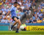 14 July 2018; Niall Scully of Dublin kicks a goal in the 37th minute of the GAA Football All-Ireland Senior Championship Quarter-Final Group 2 Phase 1 match between Dublin and Donegal at Croke Park in Dublin. Photo by Ray McManus/Sportsfile