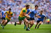 14 July 2018; Leo McLoone of Donegal in action against Eric Lowndes of Dublin during the GAA Football All-Ireland Senior Championship Quarter-Final Group 2 Phase 1 match between Dublin and Donegal at Croke Park in Dublin. Photo by David Fitzgerald/Sportsfile