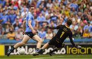 14 July 2018; Donegal goalkeeper Shaun Patton saves a shot from Brian Fenton of Dublin in the 50th minute of the GAA Football All-Ireland Senior Championship Quarter-Final Group 2 Phase 1 match between Dublin and Donegal at Croke Park in Dublin. Photo by Ray McManus/Sportsfile