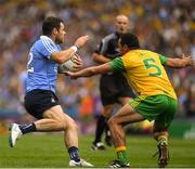 14 July 2018; Kevin McManamon of Dublin in action against Frank McGlynn of Donegal  during the GAA Football All-Ireland Senior Championship Quarter-Final Group 2 Phase 1 match between Dublin and Donegal at Croke Park in Dublin. Photo by Ray McManus/Sportsfile