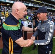 14 July 2018; Dublin manager Jim Gavin shakes hands with Donegal manager Declan Bonner following the GAA Football All-Ireland Senior Championship Quarter-Final Group 2 Phase 1 match between Dublin and Donegal at Croke Park, in Dublin. Photo by David Fitzgerald/Sportsfile