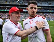 14 July 2018; Tyrone manager Mickey Harte and Matthew Donnelly of Tyrone following the GAA Football All-Ireland Senior Championship Quarter-Final Group 2 Phase 1 match between Tyrone and Roscommon at Croke Park, in Dublin.