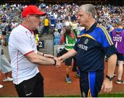 14 July 2018; Tyrone manager Mickey Harte shakes hands with Roscommon manager Kevin McStay following the GAA Football All-Ireland Senior Championship Quarter-Final Group 2 Phase 1 match between Tyrone and Roscommon at Croke Park, in Dublin.