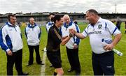13 July 2018; Referee Maggie Farrelly and Monaghan manager greet each other before the Electric Ireland Ulster GAA Football Minor Championship Final match between Derry and Monaghan at the Athletic Grounds, Armagh. Photo by Oliver McVeigh/Sportsfile