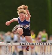 14 July 2018; Abbie Doyle from Bree A.C. Co Wexford on her way to winning the under-13 girls 60m hurdles during the Irish Life Health National T&F Juvenile Day one at Tullamore Harriers Stadium, in Tullamore, Co. Offaly. Photo by Matt Browne/Sportsfile
