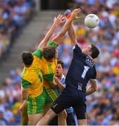 14 July 2018; Dublin captain and goalkeeper Stephen Cluxton, his teammate Cian O'Sullivan together with Donegal players Michael Langan and Hugh McFadden fail to win possession during the GAA Football All-Ireland Senior Championship Quarter-Final Group 2 Phase 1 match between Dublin and Donegal at Croke Park in Dublin. Photo by Ray McManus/Sportsfile