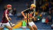 15 July 2018; William Halpin of Kilkenny in action against Shane Jennings of Galway during the Electric Ireland GAA Hurling All-Ireland Minor Championship match between Galway and Kilkenny at Semple Stadium, Thurles, Co Tipperary. Photo by Ray McManus/Sportsfile