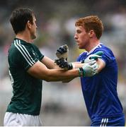 15 July 2018; Paddy Brophy of Kildare tussles with Kieran Duffy of Monaghan during the GAA Football All-Ireland Senior Championship Quarter-Final Group 1 Phase 1 match between Kildare and Monaghan at Croke Park, Dublin. Photo by David Fitzgerald/Sportsfile