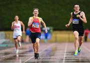 15 July 2018; Christopher Duffy, 293, from Tallaght A.C. Co Dublin who won the boys under-19 400m from second place Tony O'Connor from Naas A.C. Co Kildare during the Irish Life Health National T&F Juvenile Day 2 at Tullamore Harriers Stadium in Tullamore, Co Offaly. Photo by Matt Browne/Sportsfile