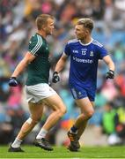 15 July 2018; Peter Kelly of Kildare in conversation with Conor McCarthy of Monaghan during the GAA Football All-Ireland Senior Championship Quarter-Final Group 1 Phase 1 match between Kildare and Monaghan at Croke Park, Dublin. Photo by Piaras Ó Mídheach/Sportsfile