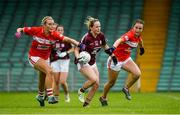 15 July 2018; Andrea Trill of Galway in action against Eve Mullins, left, and Clare O'Shea of Cork during the All-Ireland Ladies Football Minor A final between Galway and Cork at the Gaelic Grounds, Limerick. Photo by Diarmuid Greene/Sportsfile