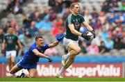 15 July 2018; Daniel Flynn of Kildare evades the attempted tackle from Darren Hughes of Monaghan on his way to scoring his side's first goal during the GAA Football All-Ireland Senior Championship Quarter-Final Group 1 Phase 1 match between Kildare and Monaghan at Croke Park, Dublin. Photo by David Fitzgerald/Sportsfile