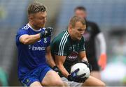 15 July 2018; Peter Kelly of Kildare gathers possession, ahead of Conor McCarthy of Monaghan before the umpire ruled he had carried the ball over the end line, during the GAA Football All-Ireland Senior Championship Quarter-Final Group 1 Phase 1 match between Kildare and Monaghan at Croke Park, Dublin. Photo by Piaras Ó Mídheach/Sportsfile