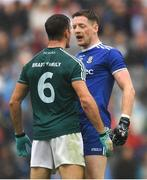 15 July 2018; Conor McManus of Monaghan and Eoin Doyle of Kildare exchange words during the GAA Football All-Ireland Senior Championship Quarter-Final Group 1 Phase 1 match between Kildare and Monaghan at Croke Park, Dublin. Photo by Piaras Ó Mídheach/Sportsfile
