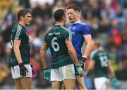 15 July 2018; Conor McManus of Monaghan and Eoin Doyle of Kildare exchange words as David Hyland, left, looks on during the GAA Football All-Ireland Senior Championship Quarter-Final Group 1 Phase 1 match between Kildare and Monaghan at Croke Park, Dublin. Photo by Piaras Ó Mídheach/Sportsfile
