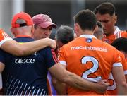 7 July 2018; Armagh manager Kieran McGeeney speaks to his players prior to the GAA Football All-Ireland Senior Championship Round 4 match between Roscommon and Armagh at O'Moore Park in Portlaoise, Co. Laois. Photo by Brendan Moran/Sportsfile