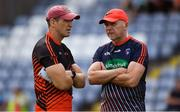 7 July 2018; Armagh manager Kieran McGeeney, left, with Armagh selector Jim McCorry during the GAA Football All-Ireland Senior Championship Round 4 match between Roscommon and Armagh at O'Moore Park in Portlaoise, Co. Laois. Photo by Brendan Moran/Sportsfile