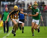 15 July 2018; Richie Leahy of Kilkenny  in action against Dan Morrissey of Limerick during the GAA Hurling All-Ireland Senior Championship Quarter-Final match between Kilkenny and Limerick at Semple Stadium, Thurles, Co Tipperary. Photo by Ray McManus/Sportsfile