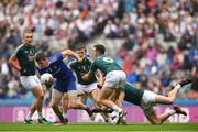 15 July 2018; Darren Hughes of Monaghan in action against Eoin Doyle along with Johnny Byrne and Fergal Conway of Kildare during the GAA Football All-Ireland Senior Championship Quarter-Final Group 1 Phase 1 match between Kildare and Monaghan at Croke Park, Dublin. Photo by David Fitzgerald/Sportsfile