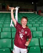 15 July 2018; Galway captain Lynsey Noone lifts the cup after her side's victory in the All-Ireland Ladies Football Minor A final between Galway and Cork at the Gaelic Grounds, Limerick. Photo by Diarmuid Greene/Sportsfile