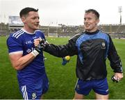 15 July 2018; Conor McManus of Monaghan shakes hands with team mate Fintan Kelly after the GAA Football All-Ireland Senior Championship Quarter-Final Group 1 Phase 1 match between Kildare and Monaghan at Croke Park, Dublin. Photo by David Fitzgerald/Sportsfile