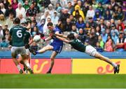 15 July 2018; Conor McManus of Monaghan kicks a point ahead of David Hyland of Kildare during the GAA Football All-Ireland Senior Championship Quarter-Final Group 1 Phase 1 match between Kildare and Monaghan at Croke Park, Dublin. Photo by David Fitzgerald/Sportsfile