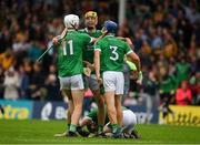 15 July 2018; Kyle Hayes, left, Dan Morrissey, centre, and Mike Casey of Limerick, right, celebrate after the GAA Hurling All-Ireland Senior Championship Quarter-Final match between Kilkenny and Limerick at Semple Stadium, Thurles, Co Tipperary. Photo by Ray McManus/Sportsfile