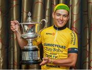 15 July 2018; Race winner Rickardo Broxham of South Africa at the awards presentation of the Eurocycles Eurobaby Junior Tour of Ireland 2018. Ennis, County Clare. Photo by Stephen McMahon/Sportsfile