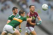 15 July 2018; Cathal Sweeney of Galway in action against Kevin McCarthy, left, and Stephen O'Brien of Kerry during the GAA Football All-Ireland Senior Championship Quarter-Final Group 1 Phase 1 match between Kerry and Galway at Croke Park, Dublin. Photo by Piaras Ó Mídheach/Sportsfile