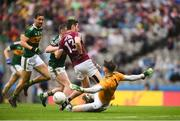 15 July 2018; Kerry goalkeeper Shane Murphy makes a save with a shot from Ian Burke of Galway during the GAA Football All-Ireland Senior Championship Quarter-Final Group 1 Phase 1 match between Kerry and Galway at Croke Park, Dublin. Photo by David Fitzgerald/Sportsfile