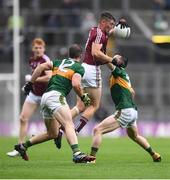 15 July 2018; Johnny Heaney of Galway in action against Stephen O'Brien, left, and Peter Crowley of Kerry during the GAA Football All-Ireland Senior Championship Quarter-Final Group 1 Phase 1 match between Kerry and Galway at Croke Park, Dublin. Photo by David Fitzgerald/Sportsfile