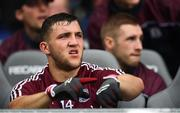 15 July 2018; Galway captain Damien Comer taps his wrist showing the referee that time is up and to blow his whistle to finish the game after the GAA Football All-Ireland Senior Championship Quarter-Final Group 1 Phase 1 match between Kerry and Galway at Croke Park, Dublin. Photo by David Fitzgerald/Sportsfile
