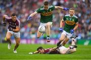 15 July 2018; Jason Foley of Kerry jumps over Ian Burke of Galway as Damien Comer of Galway and Peter Crowley of Kerry look on during the GAA Football All-Ireland Senior Championship Quarter-Final Group 1 Phase 1 match between Kerry and Galway at Croke Park, Dublin. Photo by Piaras Ó Mídheach/Sportsfile