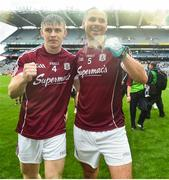 15 July 2018; David Wynne, left, and Cathal Sweeney of Galway celebrate after the GAA Football All-Ireland Senior Championship Quarter-Final Group 1 Phase 1 match between Kerry and Galway at Croke Park, Dublin. Photo by David Fitzgerald/Sportsfile